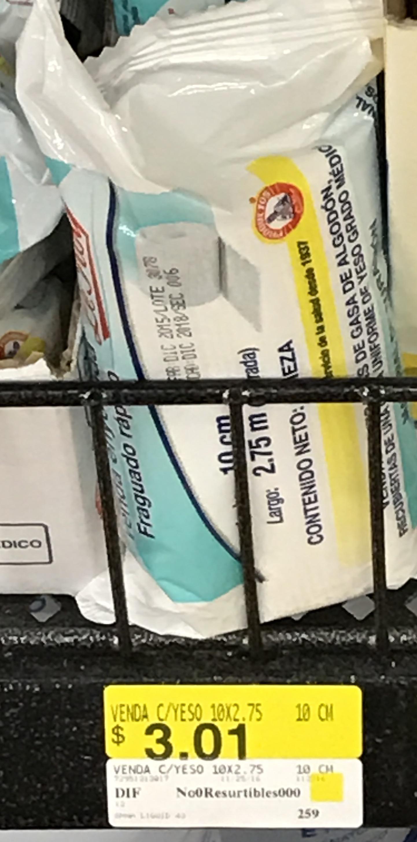 Walmart (CDMX): venda c/yeso marca Leroy a $3.01