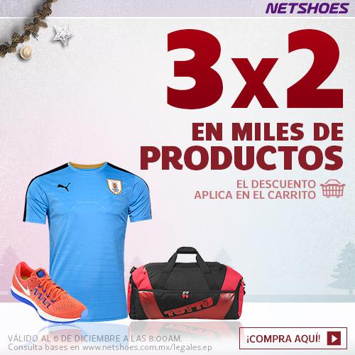 Netshoes: 3x2 en selección, 20% en novedades + cupón de $150
