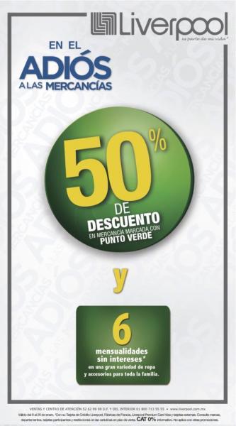 Liverpool: 50% de descuento en mercancía con punto verde y 6 MSI