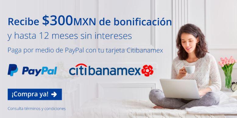 INTERJET: $300 bonificación y hasta 12 MSI pagando por medio Paypal con Citibanamex