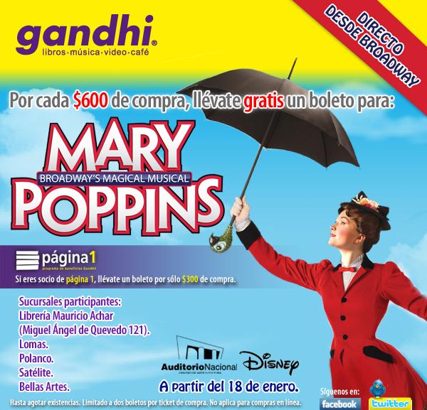 Gandhi: boleto gratis para Mary Poppins con compra de $300 o $600