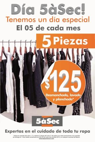 Tintorerias 5áSec: limpia 5 prendas por $125