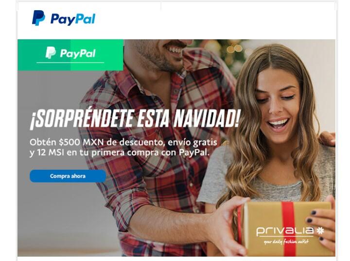 Privalia: $500 de descuento, envío gratis y 12 MSI en primer compra pagando con Paypal