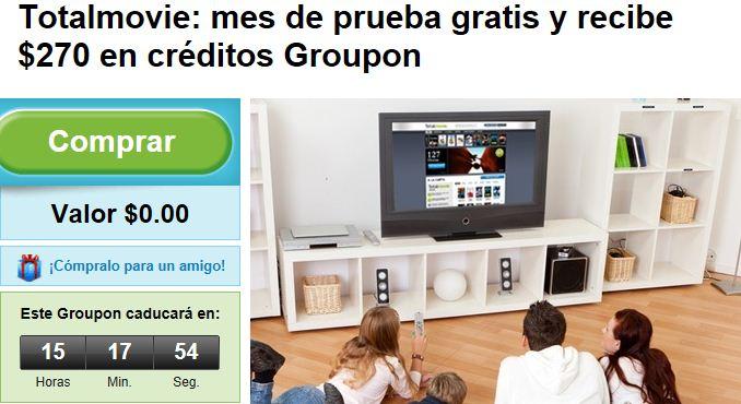 Groupon: mes de prueba gratis en Totalmovie y recibe $270 en créditos Groupon (solo hoy)