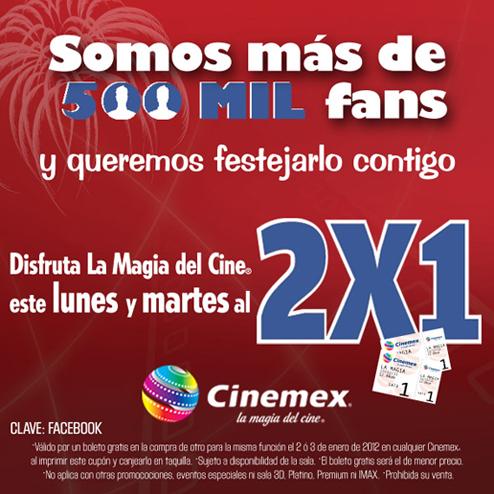 Cinemex: cupón de 2x1 hoy y mañana