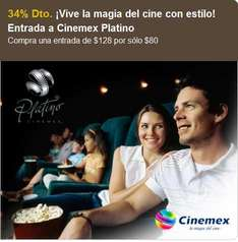 Let's Bonus: boleto para Cinemex Platino a $80 (DF)