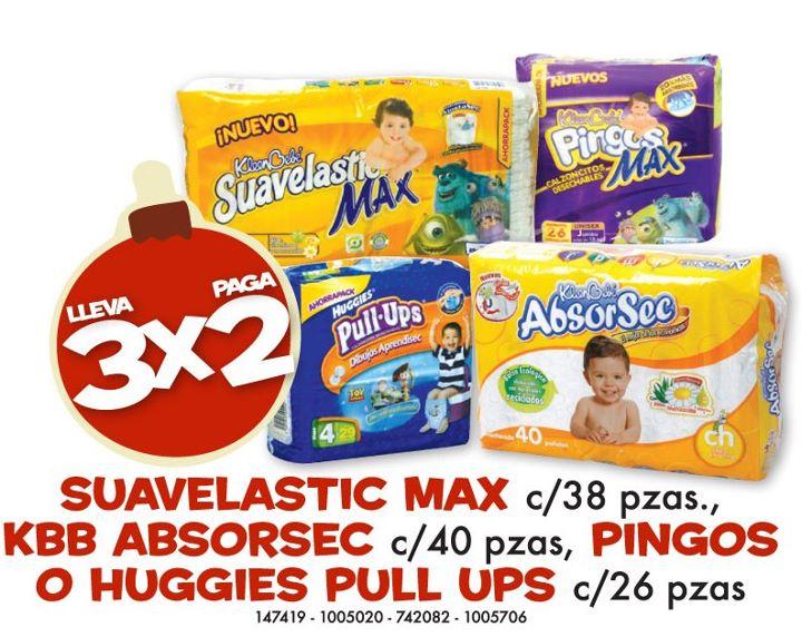 Farmacias Benavides: 3x2 en selección de pañales