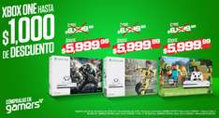 Gamers: consola Xbox One S con Gears 4 o FIFA 17 o Minecraft