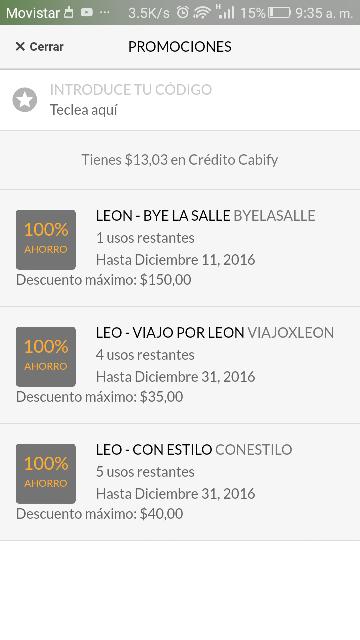 Cabify León: 1 viaje de hasta $150.00