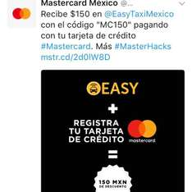 Easy taxi: 150 MXN de regalo pagando con Mastercard