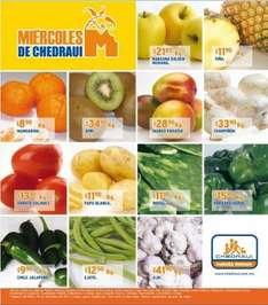Miércoles de frutas y verduras Chedraui diciembre 28: aguacate $19.75 Kg, pera $18.90 y más