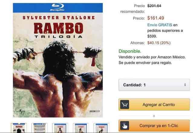 Amazon: Trilogía de Rambo en BluRay