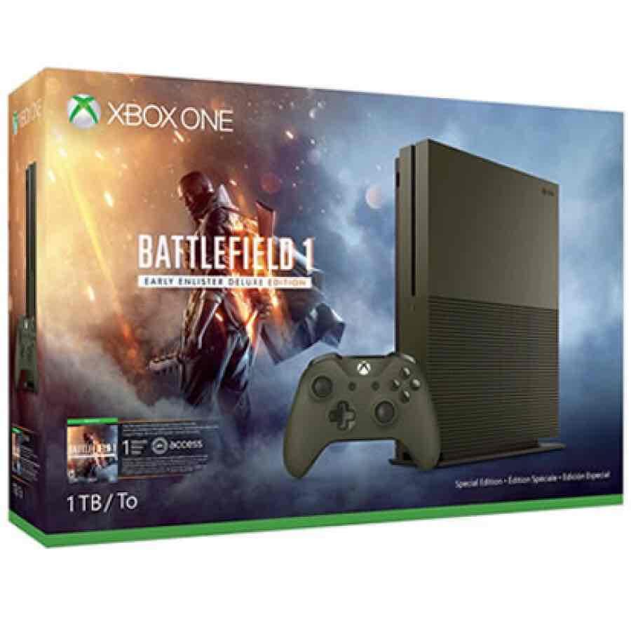 Game Planet en línea: Xbox One S 1 TB + Battlefield 1 (edición color verde) incluye soporte vertical y live 12 meses