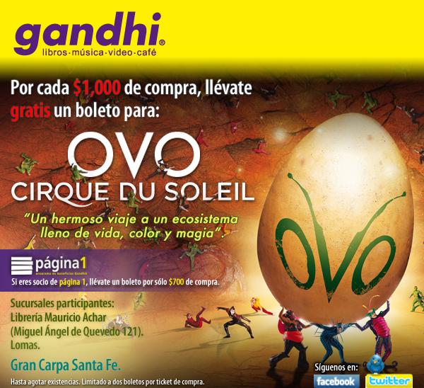 Gandhi: boleto gratis para Cirque du Soleil OVO con compra de $700 o $1,000