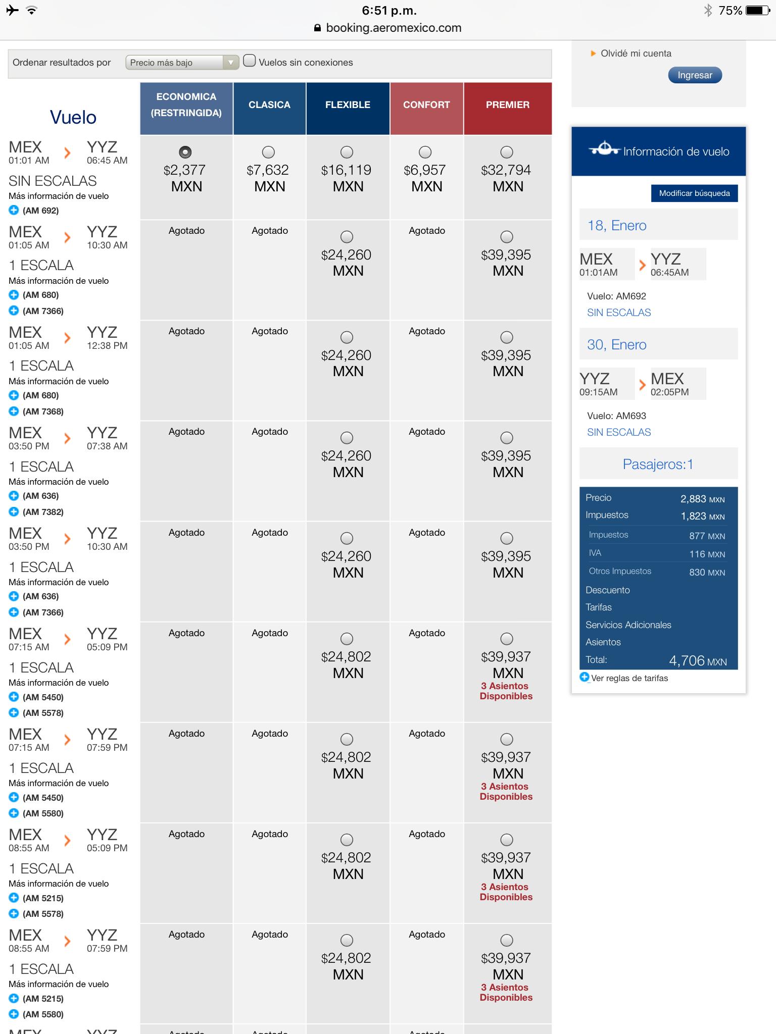 Cdmx a Toronto enero y parte de febrero y más destinos aeromexico