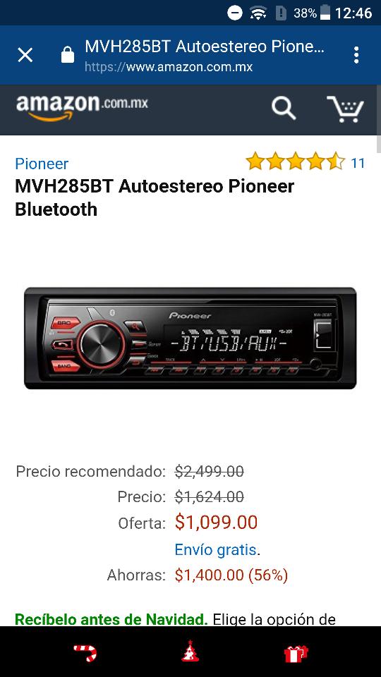 Amazon: autoestereo Pioneer Bluetooth MVH285BT a $1,099
