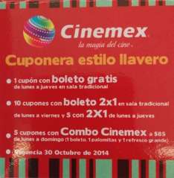 Cinemex: cuponera de boletos gratis, 15 cupones de 2x1 y más por $69