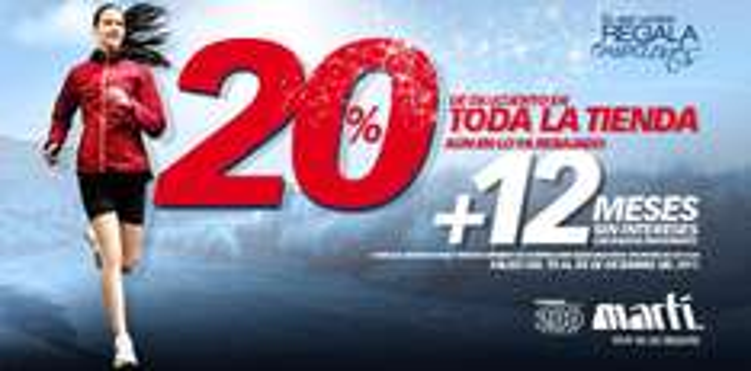 Martí: 20% de descuento en toda la tienda y 12 MSI
