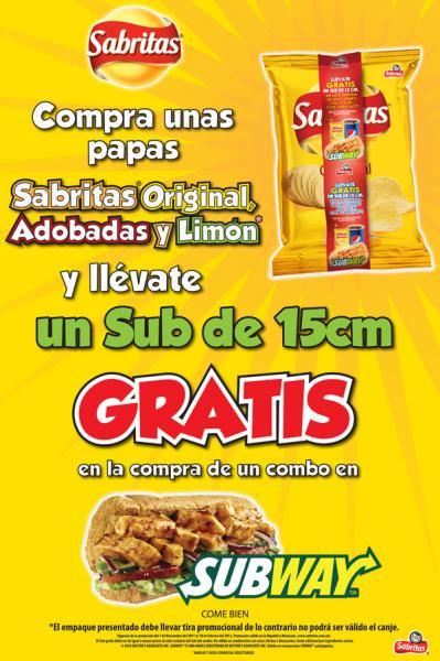Subway: sub gratis con envoltura Sabritas en la compra de un combo