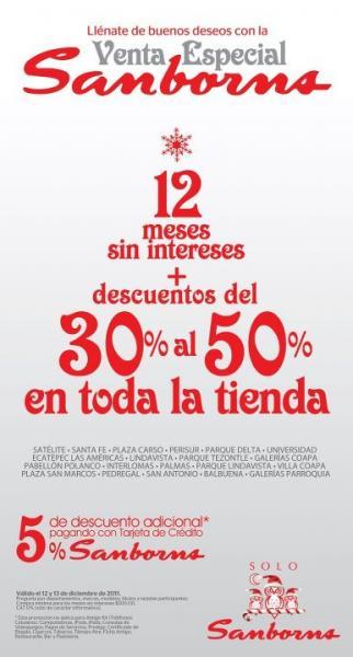 Sanborns: 12 MSI y descuentos hasta el 50% en toda la tienda (DF)