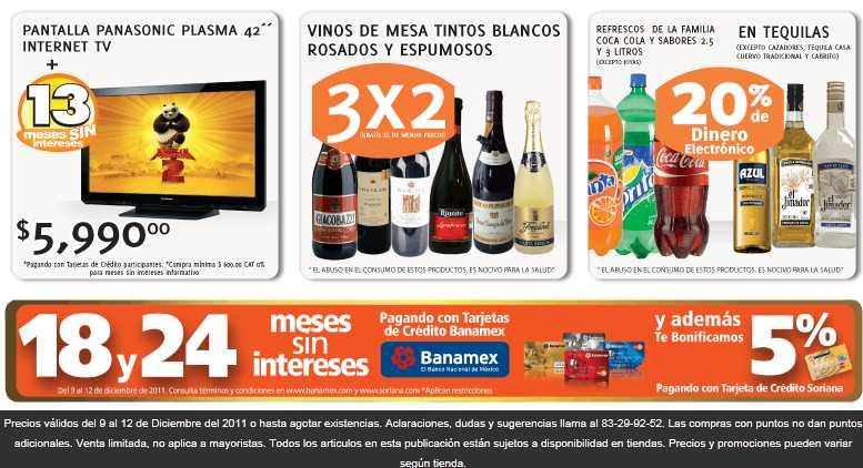 """Soriana: 3x2 en vinos, pantalla plasma 42"""" internet TV $5,999, 50% en art. navideños y más"""