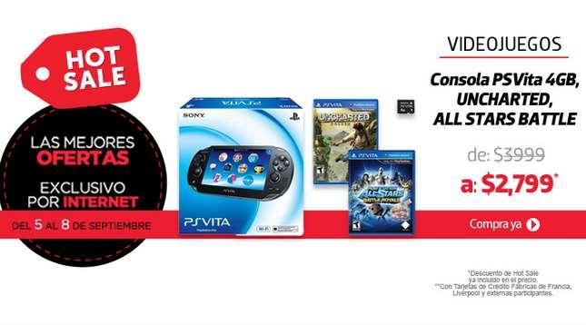 Ofertas de Hot Sale México 2014 en Liverpool: PS Vita + 2 juegos y memoria $2,857