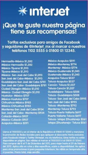 Interjet: oferta de tarifas especiales en redes sociales
