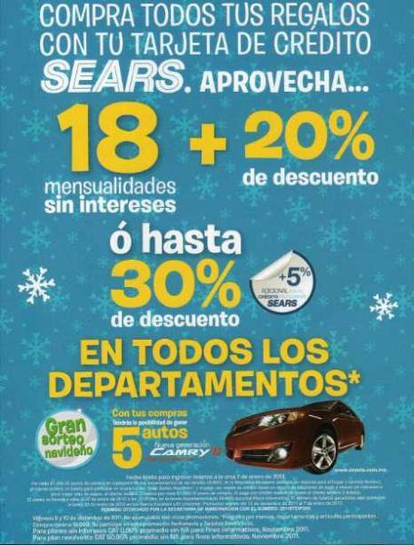 Venta Nocturna Sears 9 y 10 de diciembre: 18 MSI y 20% de descuento o hasta 30% de descuento