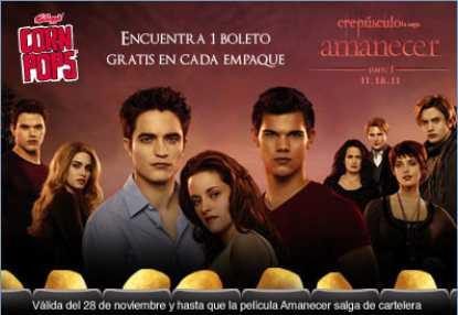 Cinépolis: boleto gratis para Amanecer parte 1 comprando Corn Pops