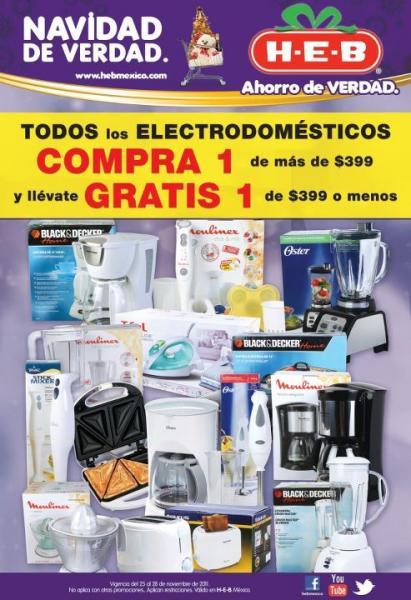 HEB: 2x1 en electrodomésticos de $399 y más