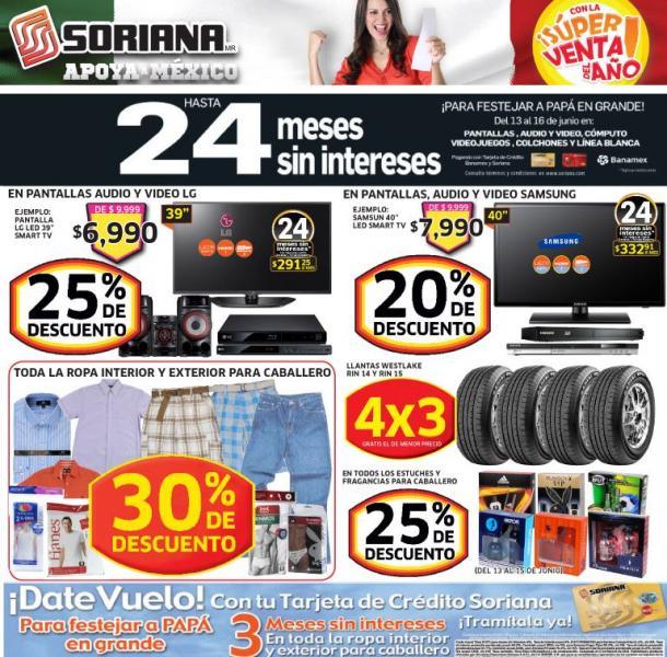 Soriana: 25% de descuento pantallas, audio y video LG, 30% en ropa para caballero y más