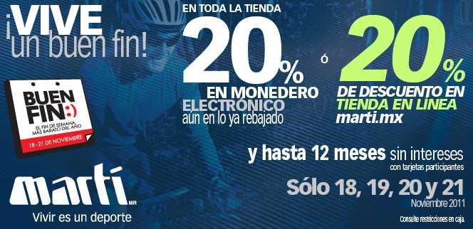 Ofertas del Buen Fin en Martí: 20% en monedero electrónico en toda la tienda y hasta 12 MSI