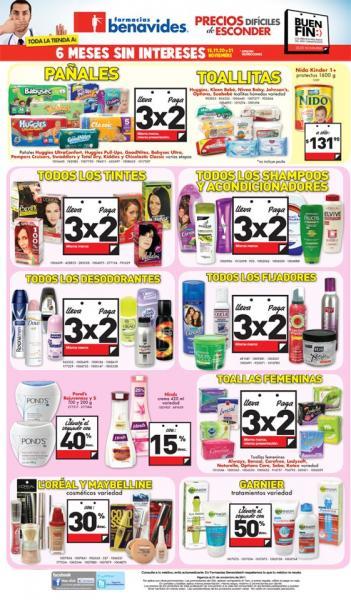 Ofertas del Buen Fin en Farmacias Benavides: 3x2 en pañales, preservativos, cosméticos, pilas y más