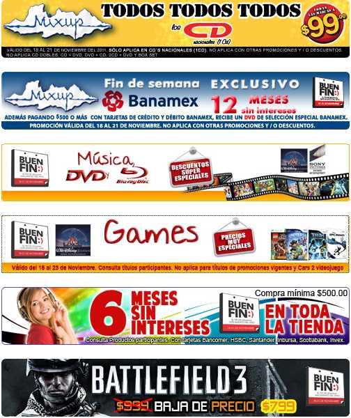 Ofertas del Buen Fin en Mixup: todos los CDs a $99 y precios especiales en música, películas y juegos