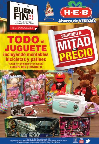 Ofertas del Buen Fin en HEB: 2 por 1 y medio en juguetes, chamarras, cosméticos y más