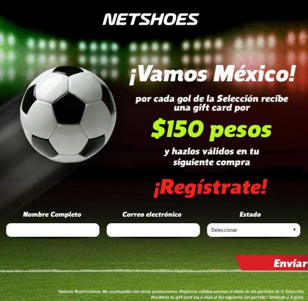 Netshoes: gift card de $150 de regalo por cada gol que anote México al registrarte en la promo