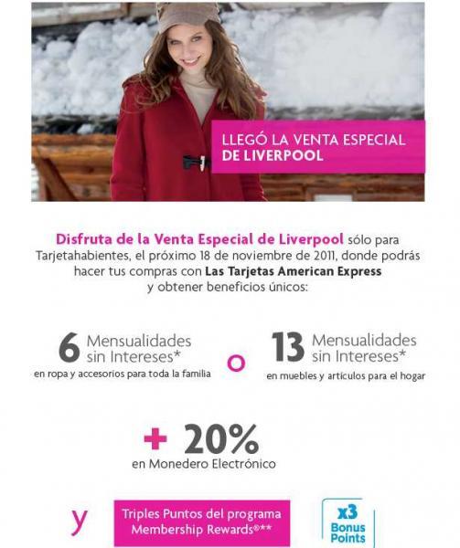 Venta Especial Liverpool American Express 18 de noviembre
