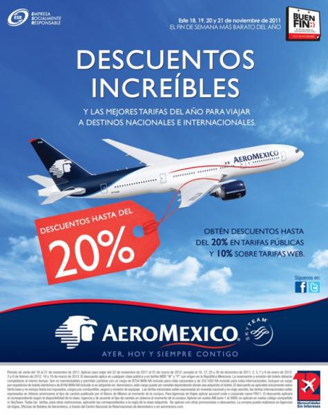 Ofertas del Buen Fin en Aeroméxico: hasta 20% de descuenot en tarifas públicas