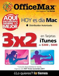 Día Mac OfficeMax: 3x2 en tarjetas iTunes y 18 MSI en productos Apple