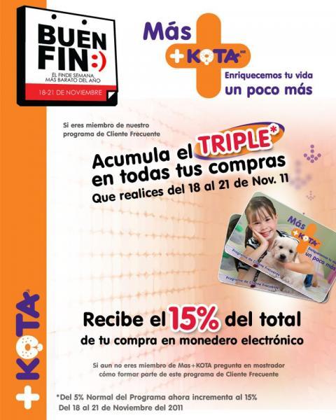 Ofertas Buen Fin +KOTA: 15% en monedero electrónico