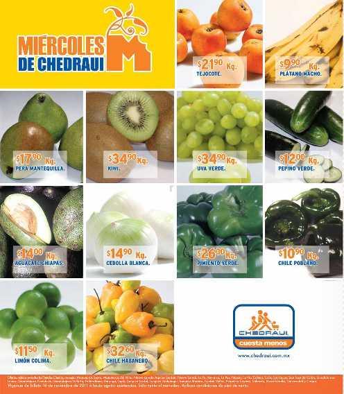 Miércoles frutas y verduras Chedraui noviembre 16: aguacate $13.45, col $3.30 y más