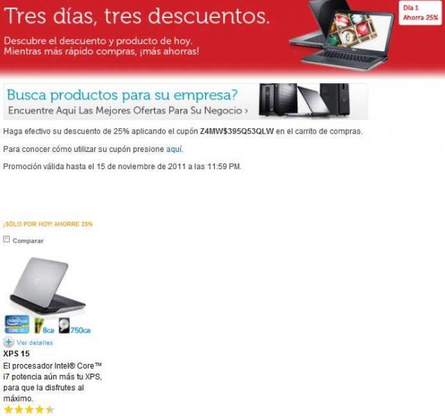 Dell: tres días de descuentos, hoy 25% de descuento en laptop XPS 15