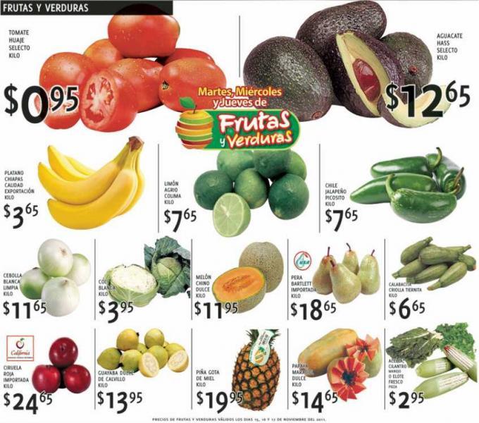 Ofertas de frutas y verduras en HEB y Soriana (norte) noviembre 15