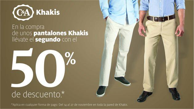 C&A: segundo pantalón Khaki a mitad de precio