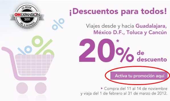 Volaris: 20% de descuento desde y hacia GDL, DF, Toluca y Cancún y 15% a USA
