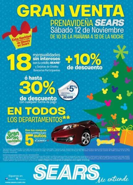 Gran Venta Prenavideña Sears este sábado 12 de noviembre