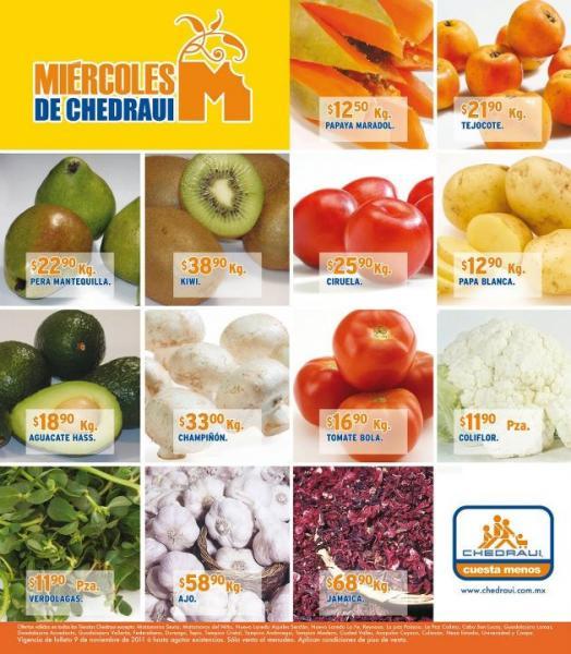 Miércoles frutas y verduras Chedraui noviembre 9: toronja $2.80, manzana $18.65 y más
