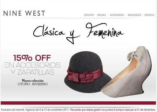 Nine West: 15% de descuento en accesorios y zapatillas