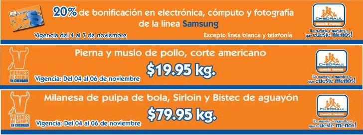 Chedraui: 20% de bonificación en líneas Samsung y ofertas en carnes