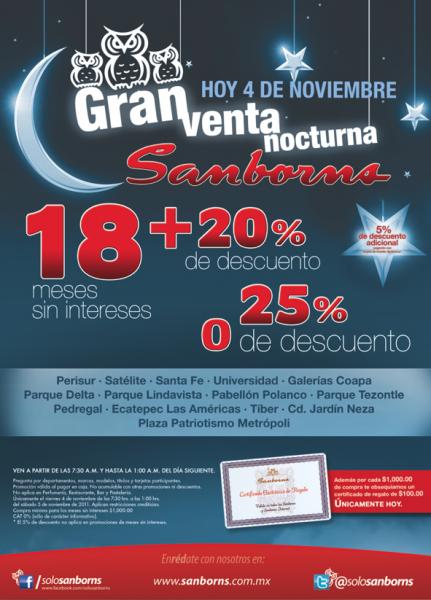 Venta Nocturna Sanborns noviembre 4: 20% de descuento y 18 MSI y $100 por cada $1,000